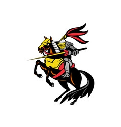 Knight on horse with sword vector
