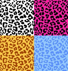 Leopard skin seamless repeated pattern Set of 4 vector image vector image