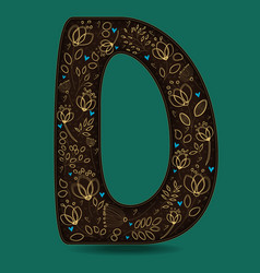 letter d with golden floral decor vector image vector image