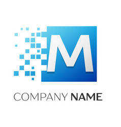 letter m logo symbol in the colorful square with vector image vector image