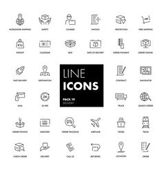 line icons set delivery vector image vector image