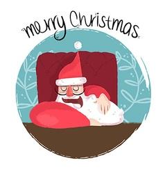 Merry christmas funny of sleepy santa vector