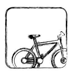 Monochrome sketch with bicycle in square frame vector
