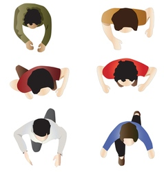 people standing top view set 2 vector image