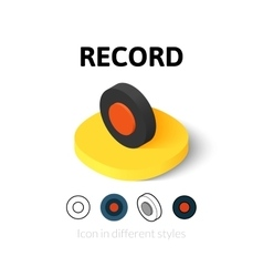 Record icon in different style vector image