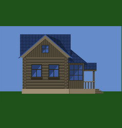 Rustic wooden cottage house vector