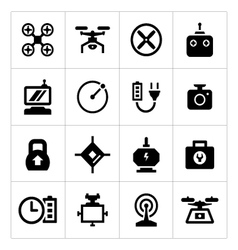 Set icons of quadrocopter multicopter and drone vector