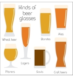 Set of beer glassware cool minimal flat vector