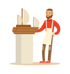 Smiling man making model of a sail boat hobby or vector