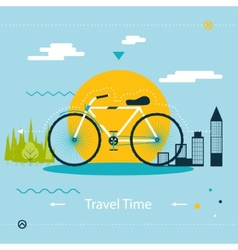 Travel healthy lifestyle symbol bicycle modern vector
