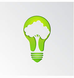 Tree in light bulb background vector