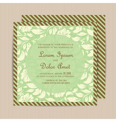 Wedding invitation floral green vector