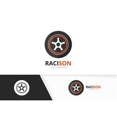 Wheel logo combination tire and car symbol vector