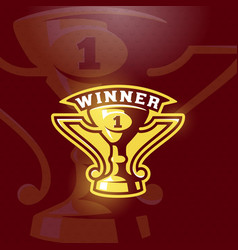 winner prize cup emblem sport trophy sign vector image