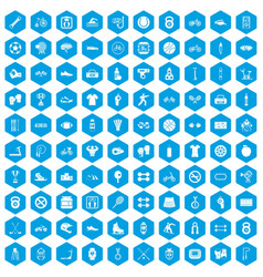 100 sport icons set blue vector image vector image