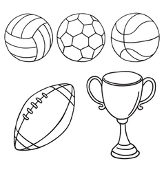 Balls and winner cup icons vector