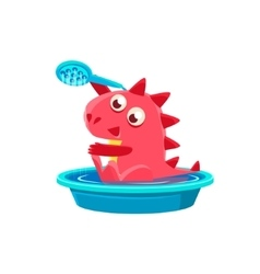Red dragon taking a bath vector