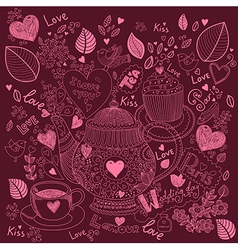 Love pattern with teapot vector
