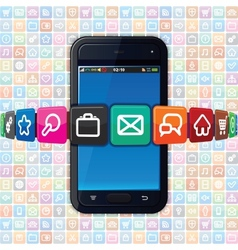 Smartphone with internet icons technology vector