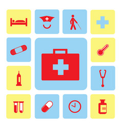 Icons hospital set vector