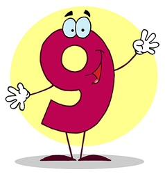 Funny cartoon friendly number 9 nine guy vector