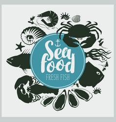 Seafood emblem with sea inhabitants and lettering vector