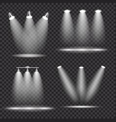 Set of realistic bright projectors lighting lamp vector