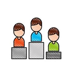 business people in podium success progress vector image