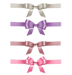 Set of colorful gift bows with ribbons vector