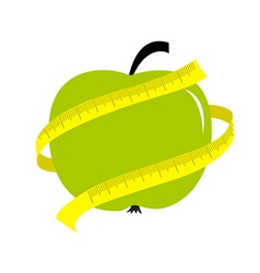 Green apple with yellow measuring tape ruler diet vector