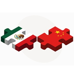 Mexico and china flags in puzzle vector