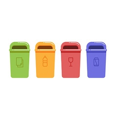 Containers for recycling waste sorting vector