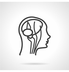 Anatomy brain black line icon vector