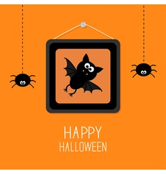 Bat hanging spider picture frame halloween vector