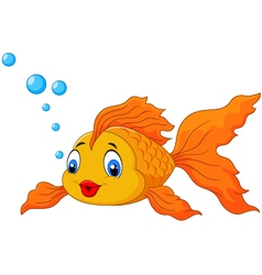 Happy goldfish with bubbles vector image
