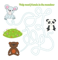 Labyrinth maze find a way panda koala bear vector