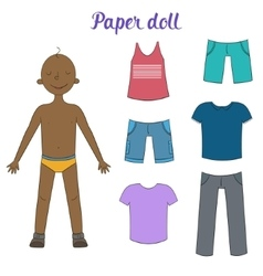 Paper doll boy and clothes vector