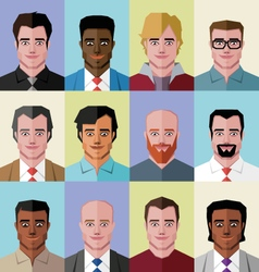 Low poly people faces vector