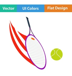 Tennis racket hitting a ball icon vector