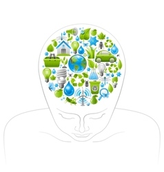 Human head with green and blue concept ecological vector
