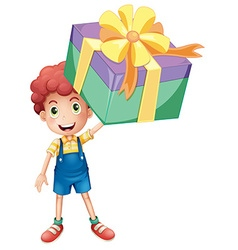 Boy holding box of present vector