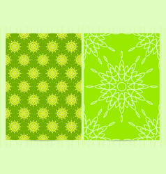 A4 format cards decorated with mandala in green vector