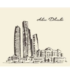 Abu Dhabi skyline vintage hand drawn vector image