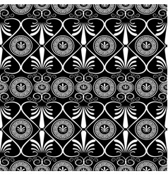 ancient greek key floral seamless pattern greece vector image vector image