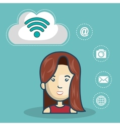 avatar woman and wireless icon vector image