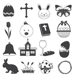 Basic Easter Icons Set vector image vector image