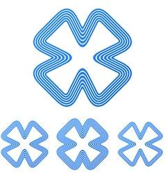 Blue line brand logo design set vector