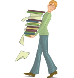 Boy is under stress with lot of paper work vector