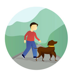 Boy walking with a dog vector