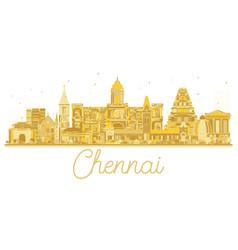 Chennai india city skyline golden silhouette vector